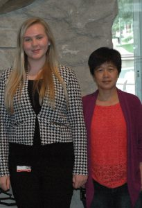 Anna Martin and her mentor, Dr. Ginny Yang, at Lilly during summer 2015