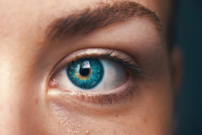 bright blue eye