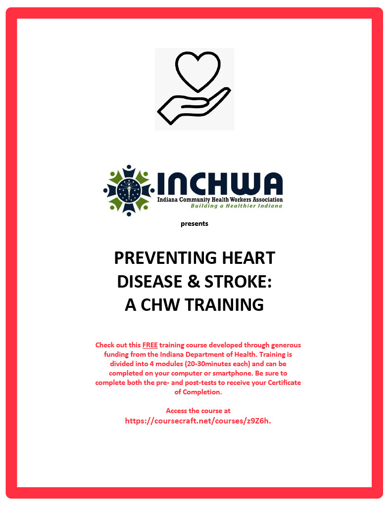 Flyer with heart floating over hand for preventing heart disease & stroke presented by INCHWA