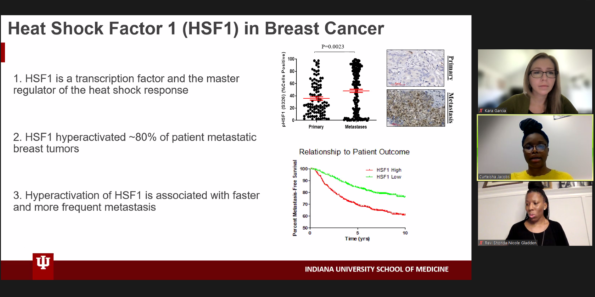 Curteisha Jacobs giving presentation about HSF1 regulation of Anti-Tumor Immune Response in Breast Cancer during Research Blitz