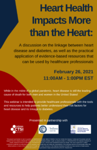 Colorful flyer with details about a webinar for heart health month