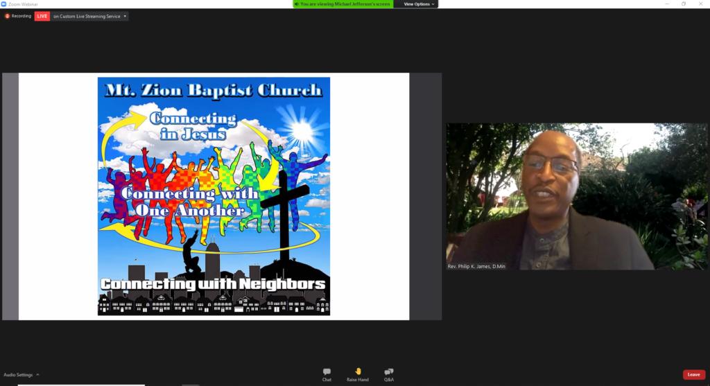 Rev. Dr. Phillip James presents during event
