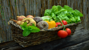 photo of garden vegetables in a basket