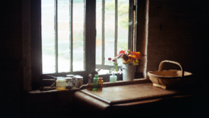 photo from inside a house looking out a window with a table and flowers