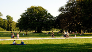photo of park with people walking, biking and sitting