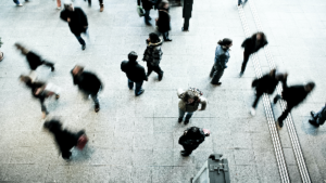 photo of people standing in a busy area