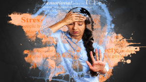 photo of woman experiencing stress with hand on head and hand held out with words related to stress all around her