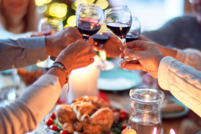 festive gathering with a wine toast