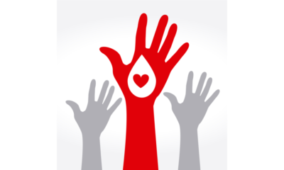 Drawing of hands reaching up with - blood donor