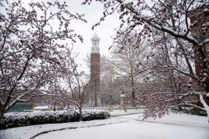 snow-covered purdue campus