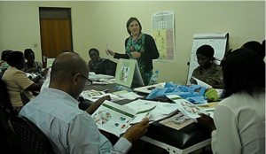 Sherri Bucher, PhD, facilitates an Essential Care for Small Babies Master Trainer course for East African health care providers at Makerere University in Kampala, Uganda in 2014